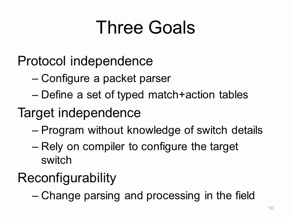 Three Goals Protocol independence Target independence