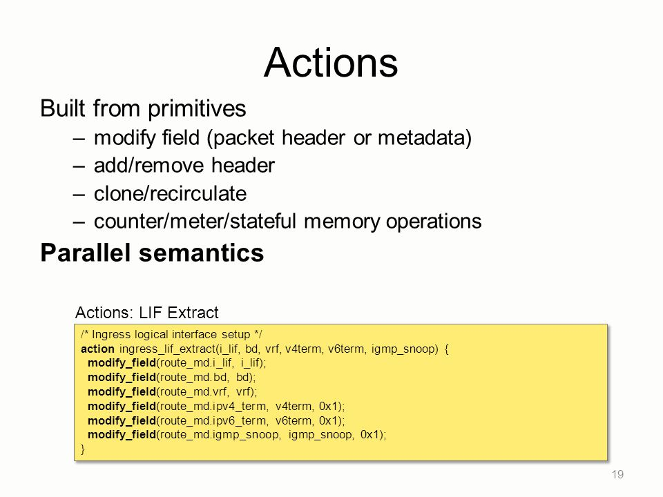Actions Parallel semantics Built from primitives