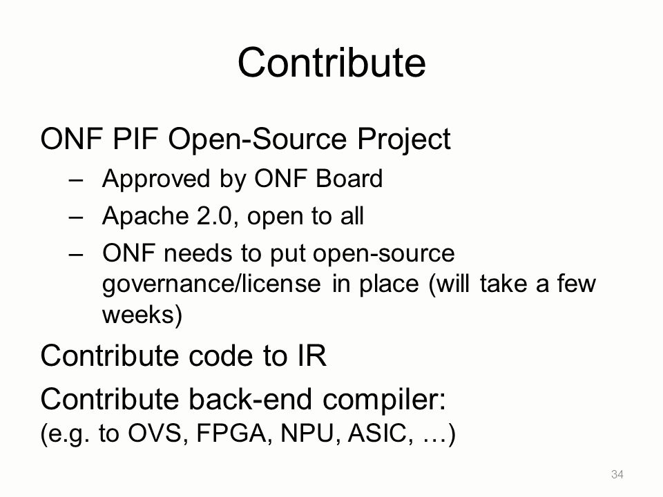 Contribute ONF PIF Open-Source Project Contribute code to IR