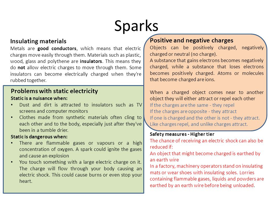 Sparks Positive and negative charges Insulating materials