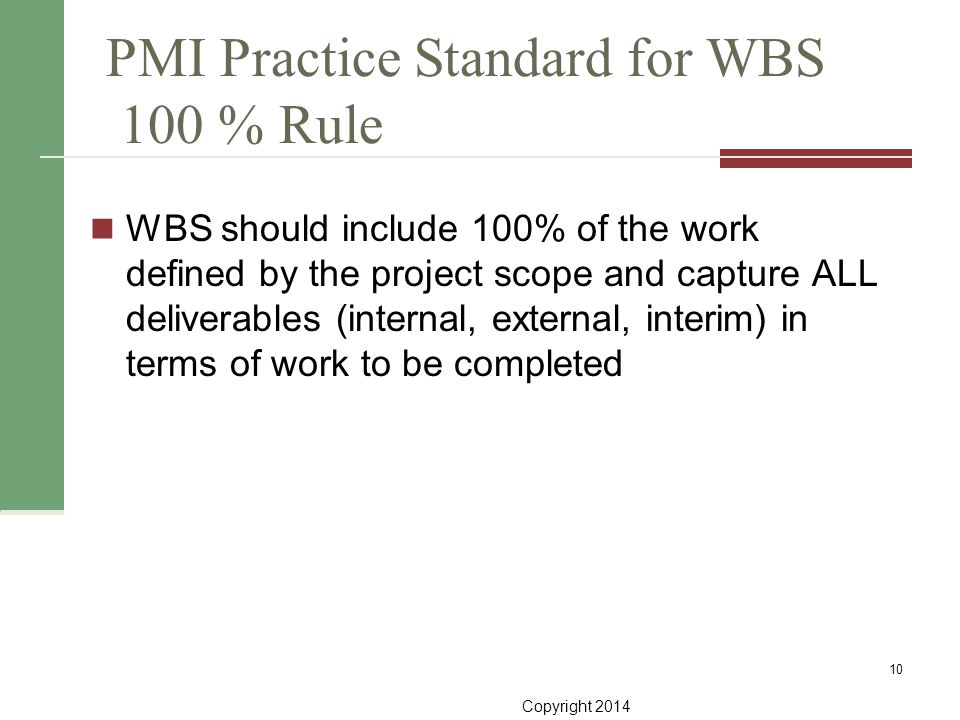 PMI Practice Standard for WBS 100 % Rule