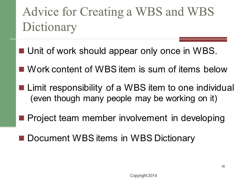 Advice for Creating a WBS and WBS Dictionary
