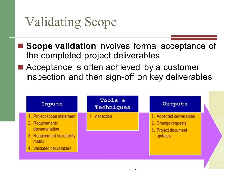 Validating Scope Scope validation involves formal acceptance of the completed project deliverables.