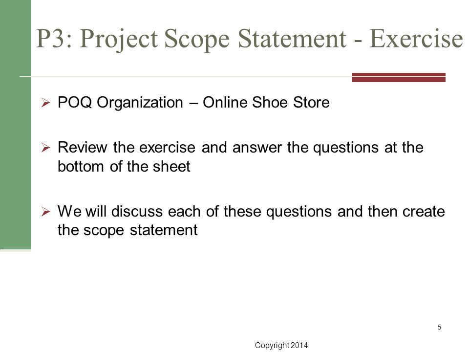 P3: Project Scope Statement - Exercise