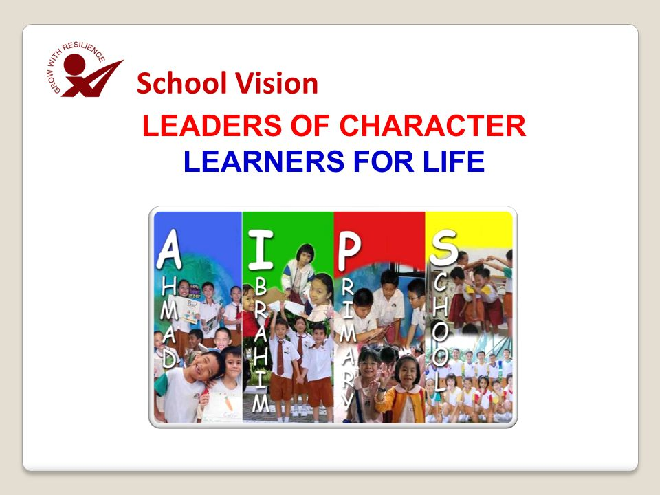School Vision LEADERS OF CHARACTER LEARNERS FOR LIFE