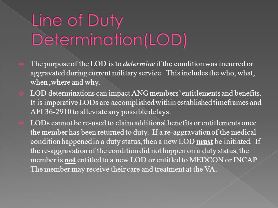 Line of Duty Determination(LOD)