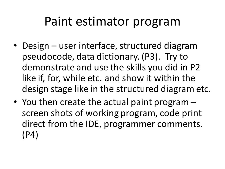 Paint estimator program
