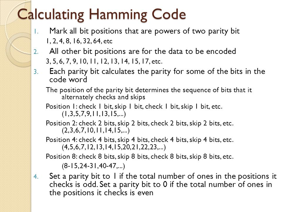 Calculating Hamming Code