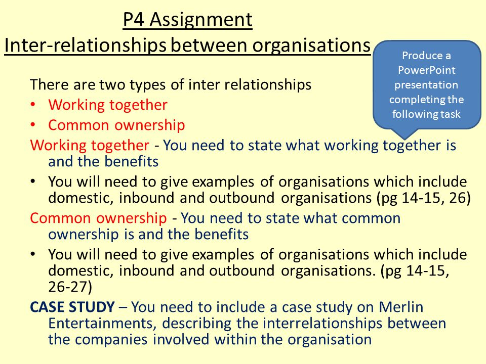 P4 Assignment Inter-relationships between organisations