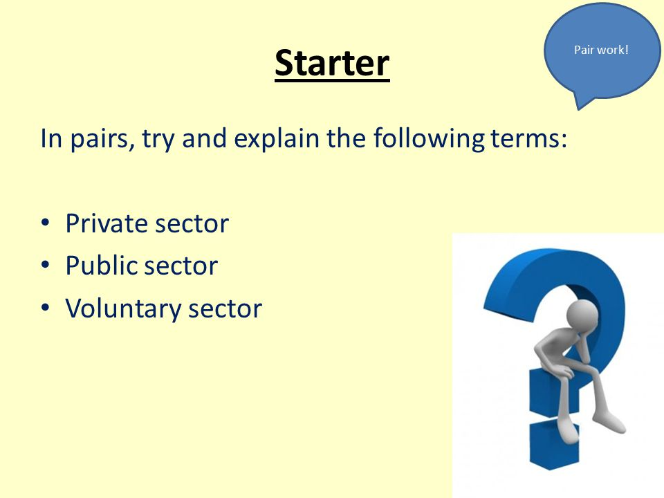 Starter In pairs, try and explain the following terms: Private sector