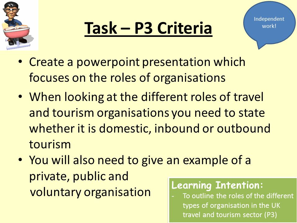 Independent work! Task – P3 Criteria. Create a powerpoint presentation which focuses on the roles of organisations.