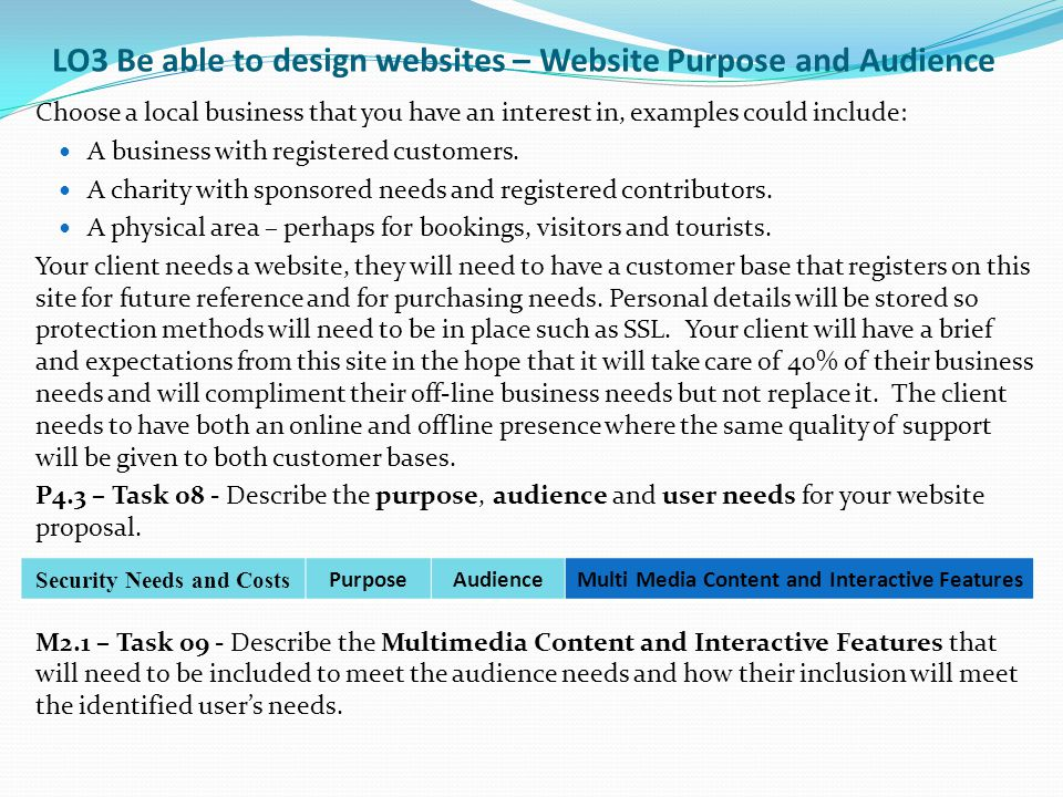 LO3 Be able to design websites – Website Purpose and Audience