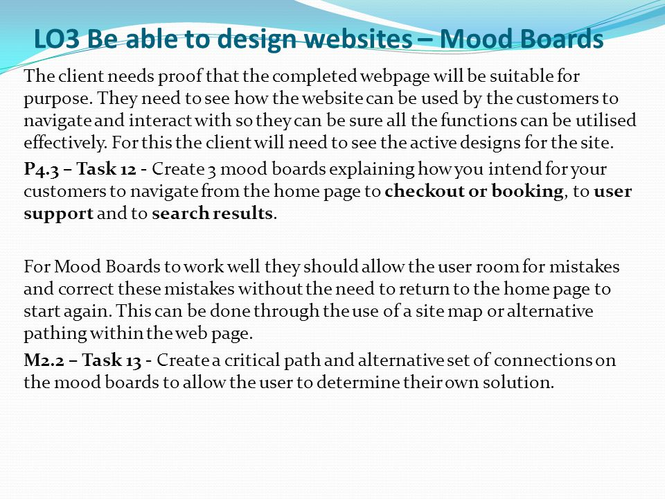 LO3 Be able to design websites – Mood Boards