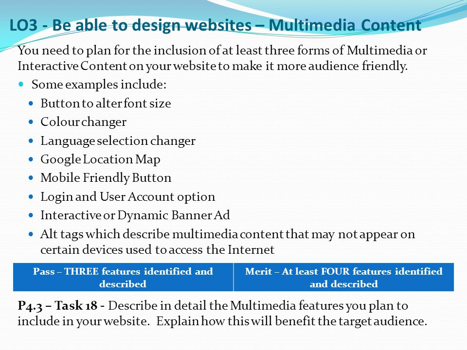 LO3 - Be able to design websites – Multimedia Content