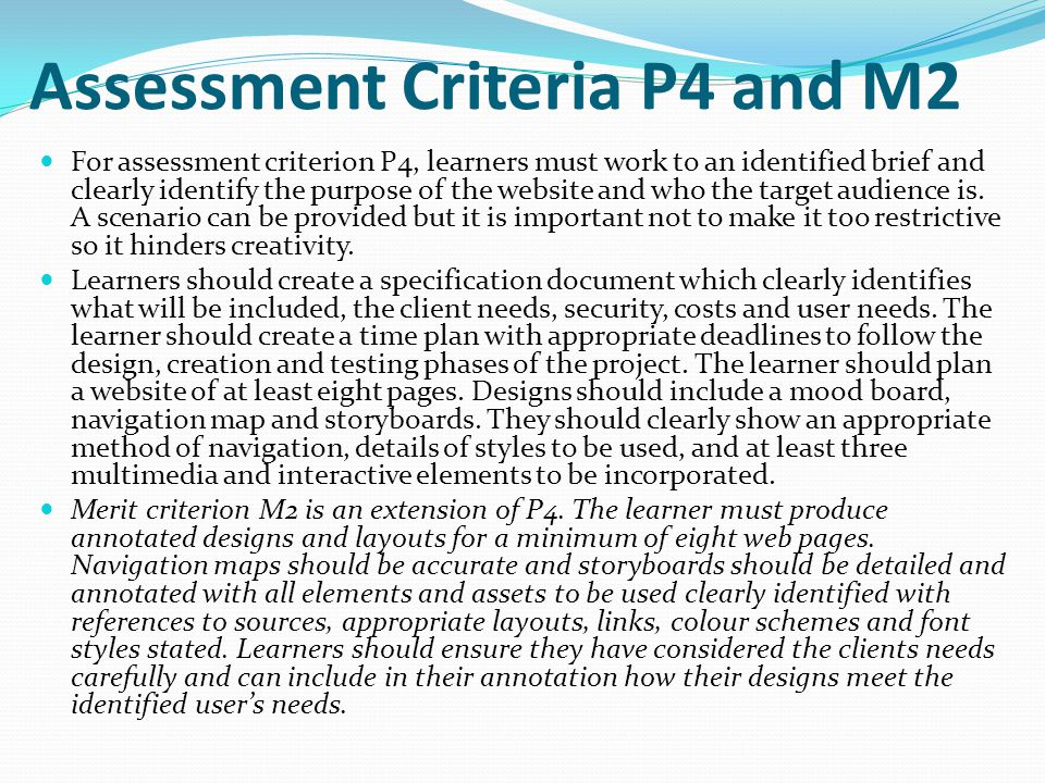 Assessment Criteria P4 and M2