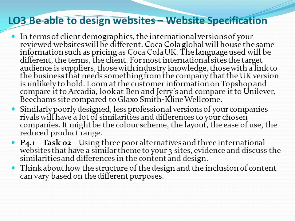 LO3 Be able to design websites – Website Specification