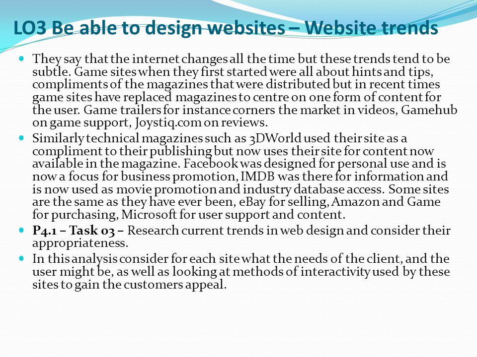 LO3 Be able to design websites – Website trends