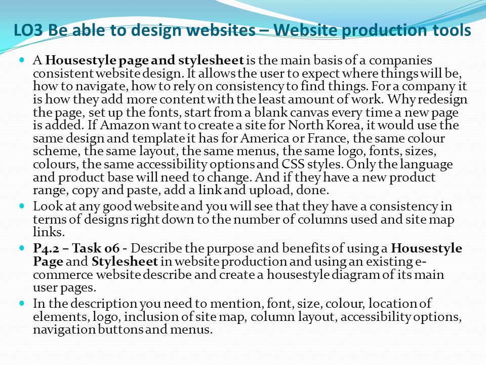 LO3 Be able to design websites – Website production tools