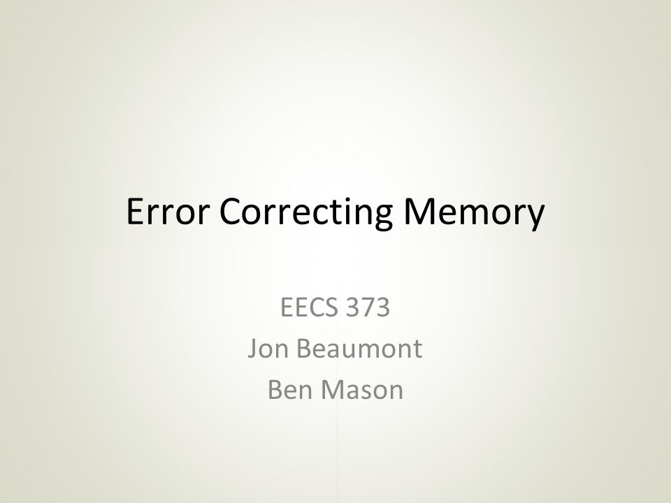 Error Correcting Memory
