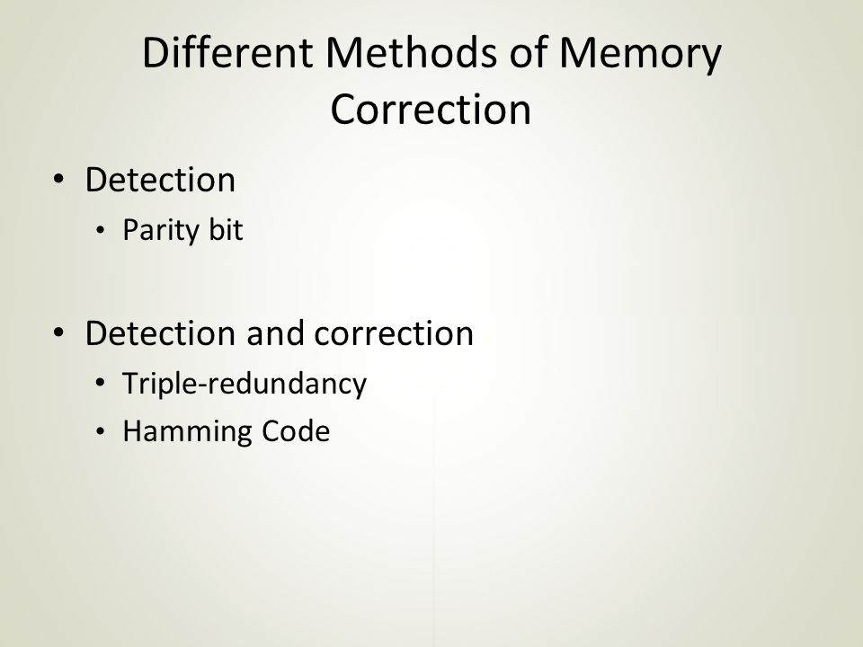 Different Methods of Memory Correction