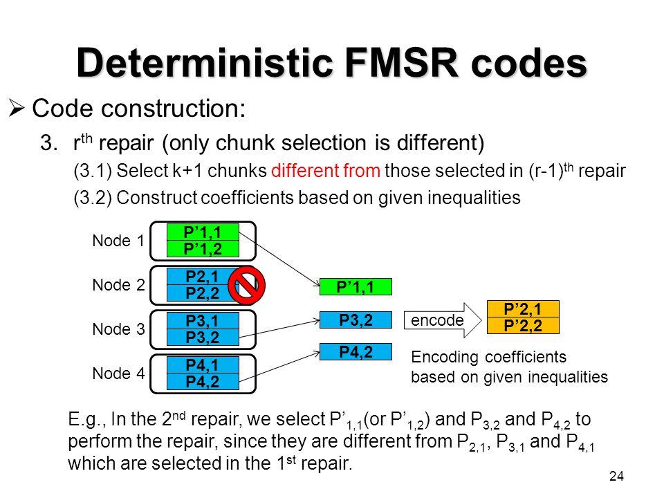 Deterministic FMSR codes