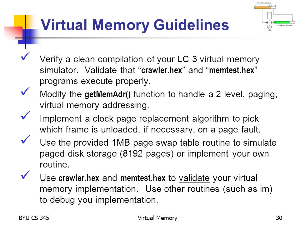 Virtual Memory Guidelines