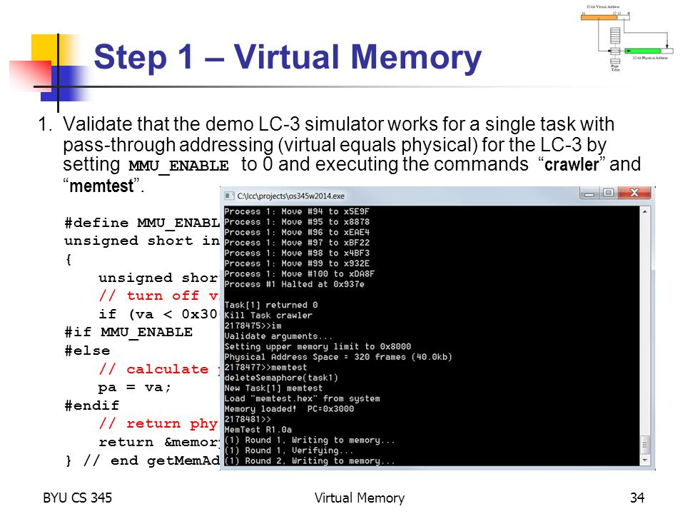 Step 1 – Virtual Memory