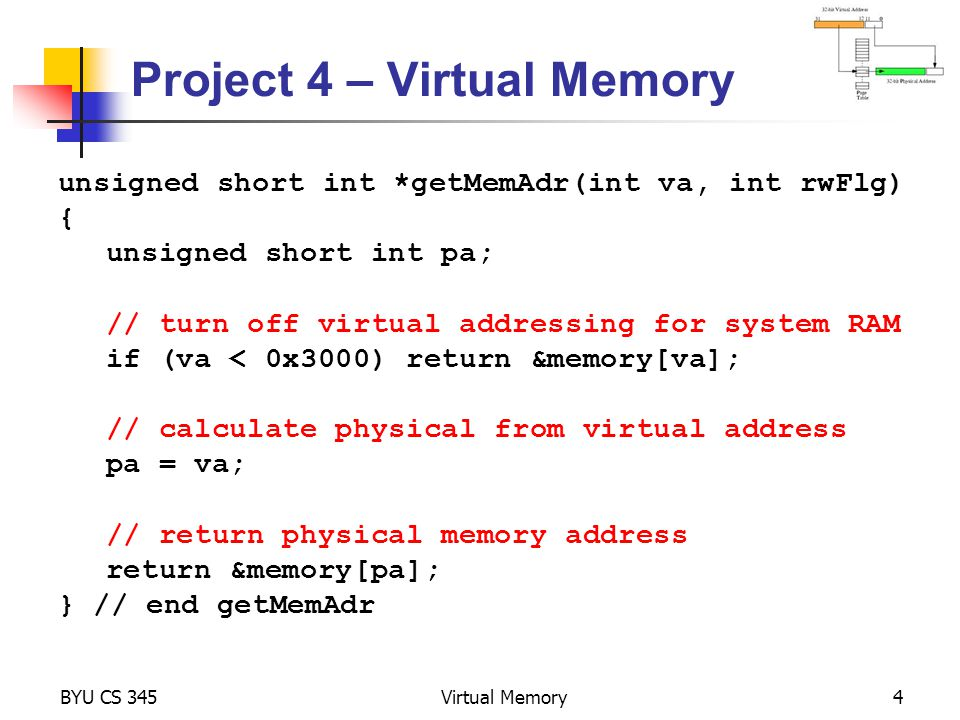 Project 4 – Virtual Memory