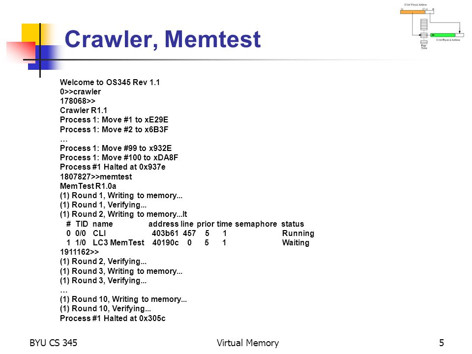 Crawler, Memtest BYU CS 345 Virtual Memory Alex Milenkovich