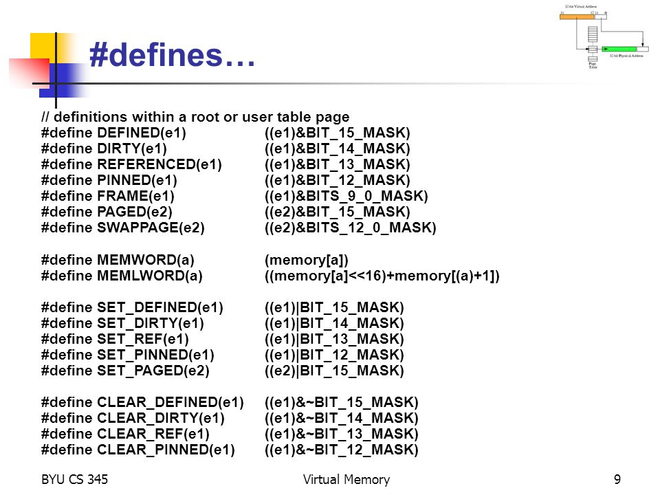 #defines… // definitions within a root or user table page
