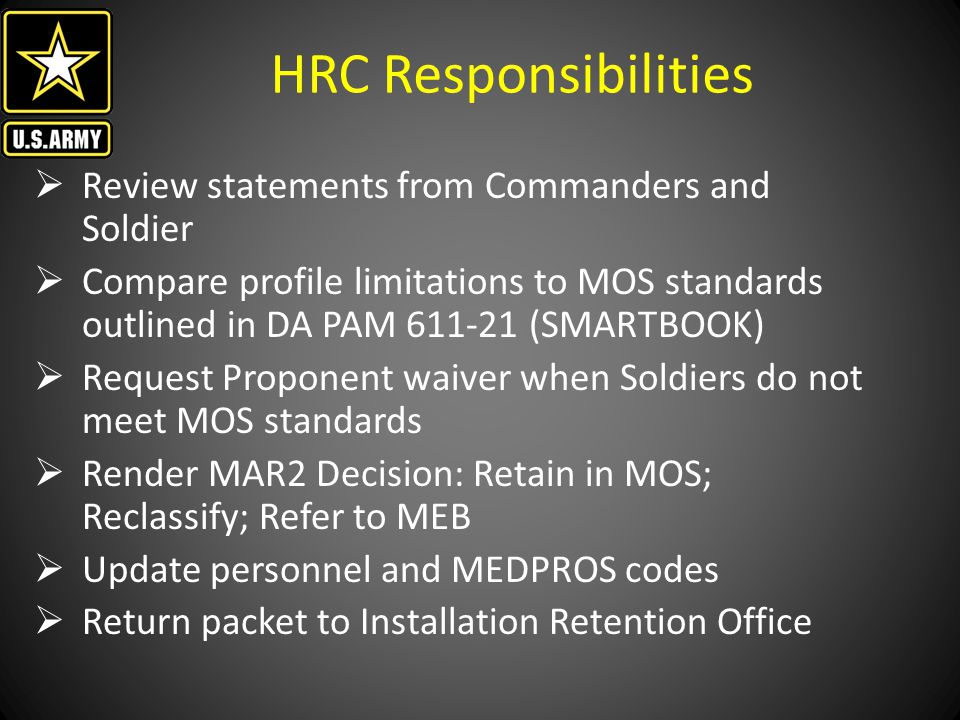HRC Responsibilities Review statements from Commanders and Soldier