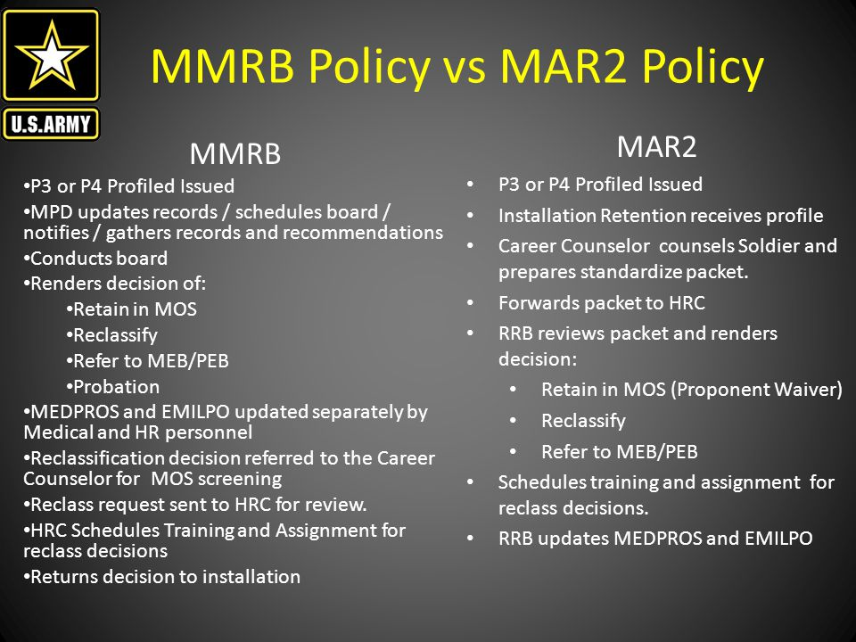 MMRB Policy vs MAR2 Policy