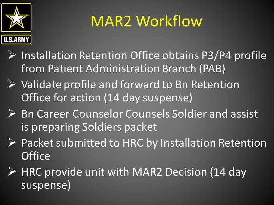 MAR2 Workflow Installation Retention Office obtains P3/P4 profile from Patient Administration Branch (PAB)