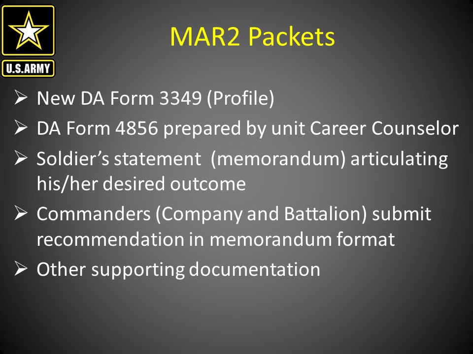 MAR2 Packets New DA Form 3349 (Profile)