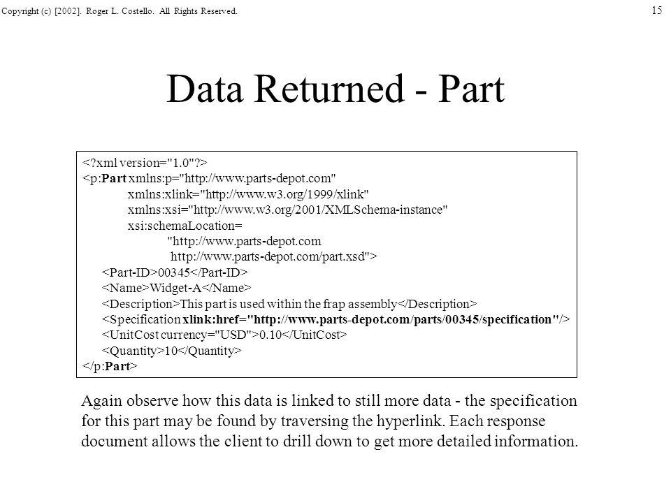 Data Returned - Part < xml version= 1.0 > <p:Part xmlns:p= http://www.parts-depot.com xmlns:xlink= http://www.w3.org/1999/xlink