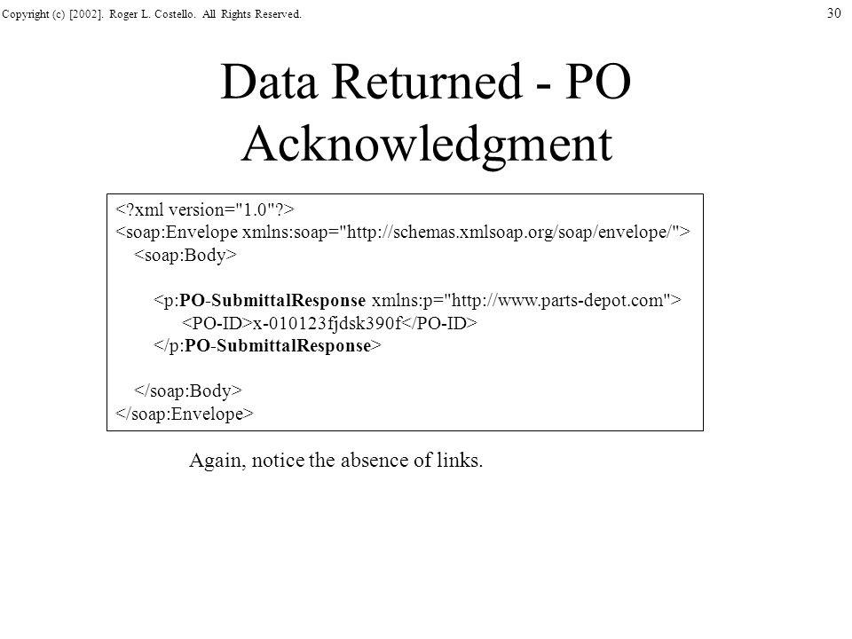 Data Returned - PO Acknowledgment