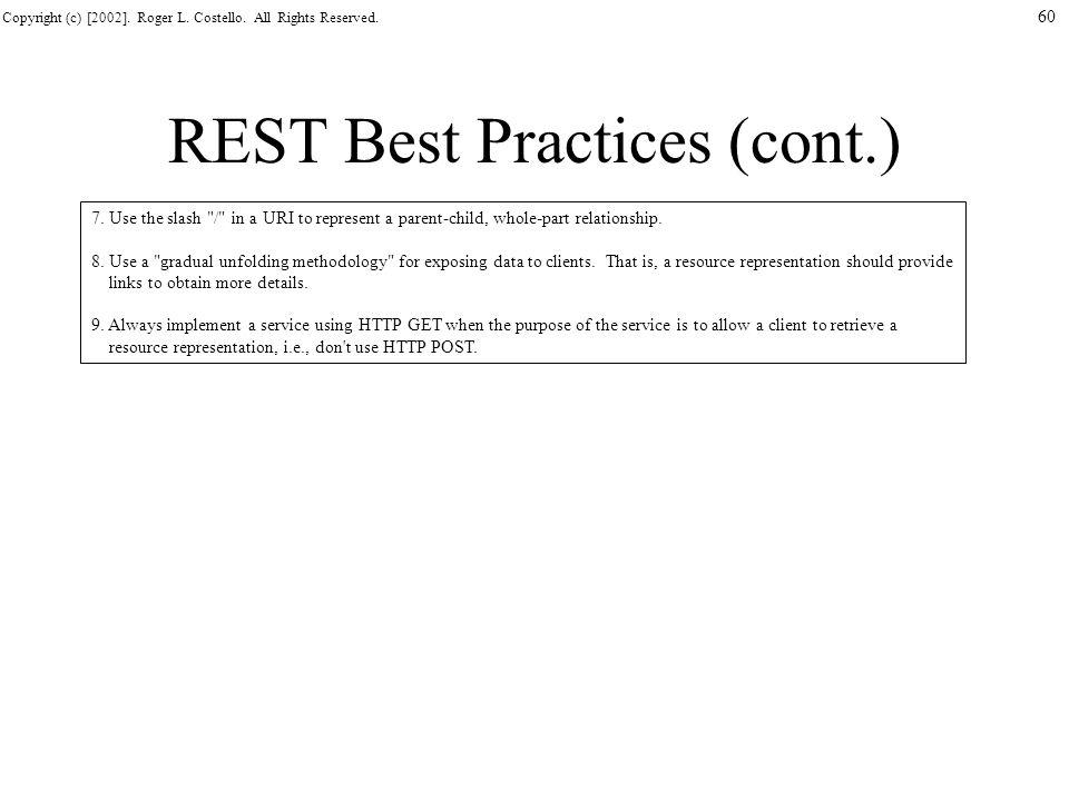 REST Best Practices (cont.)