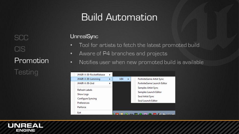 Build Automation SCC CIS Promotion Testing UnrealSync