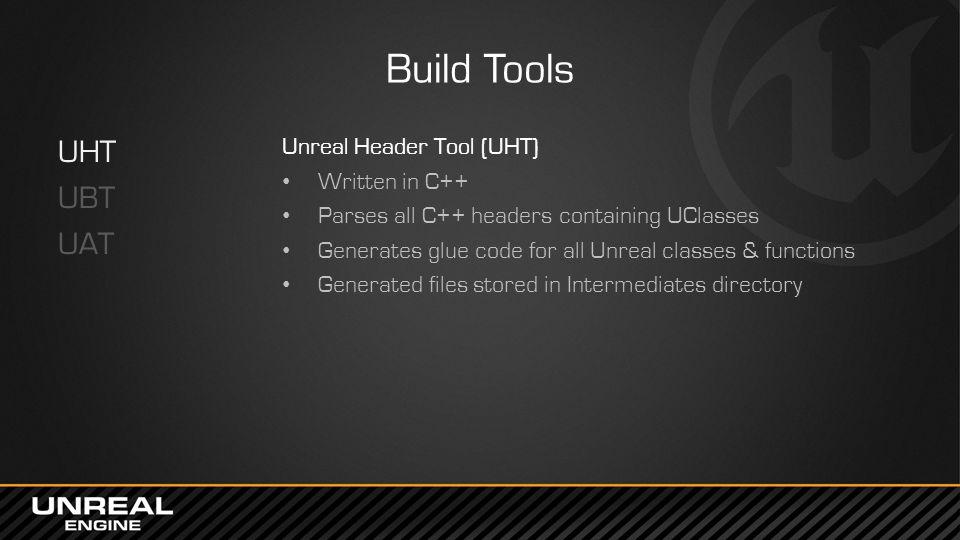 Build Tools UHT UBT UAT Unreal Header Tool (UHT) Written in C++