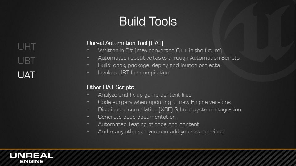 Build Tools UHT UBT UAT Unreal Automation Tool (UAT)