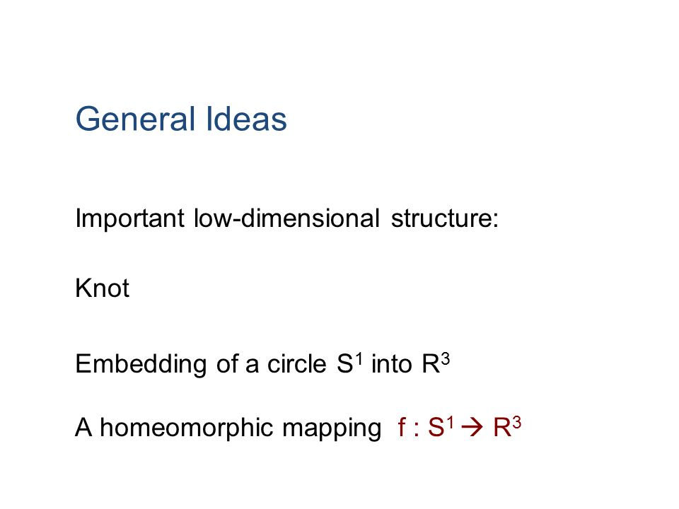 General Ideas Important low-dimensional structure: Knot