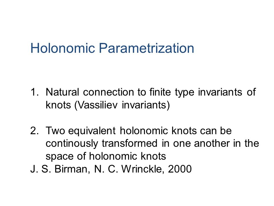 Holonomic Parametrization