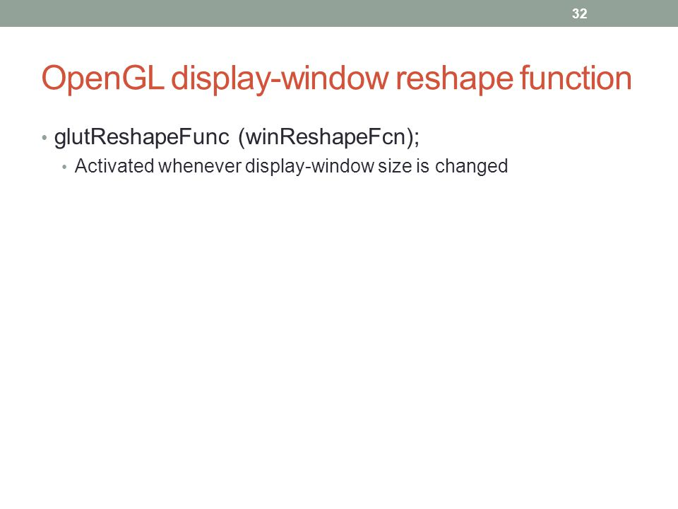 OpenGL display-window reshape function