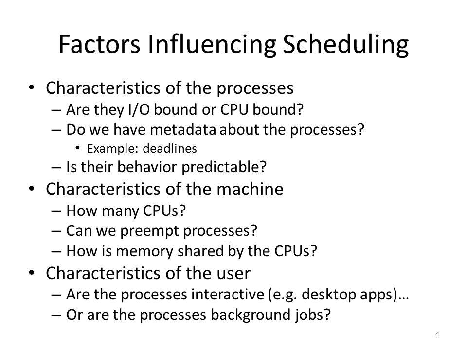 Factors Influencing Scheduling