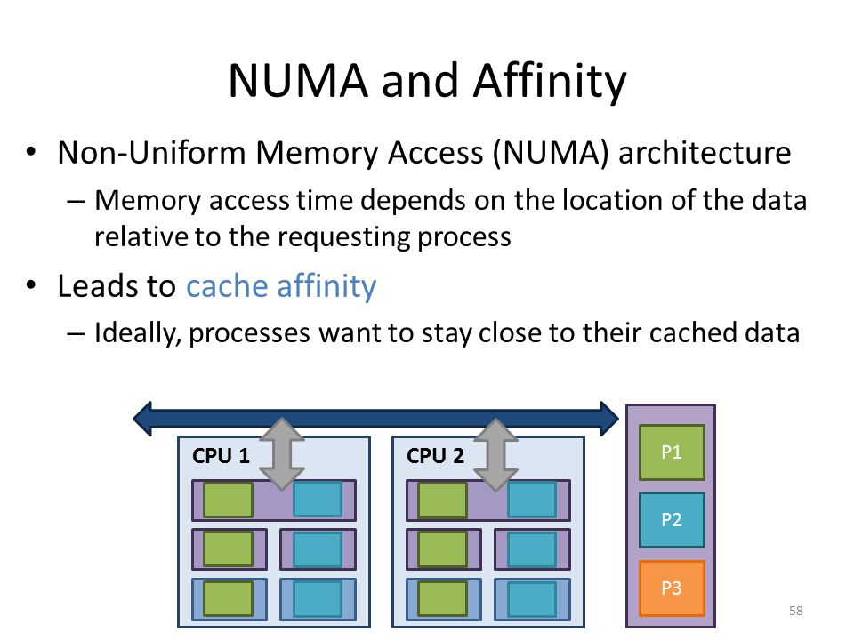NUMA and Affinity Non-Uniform Memory Access (NUMA) architecture