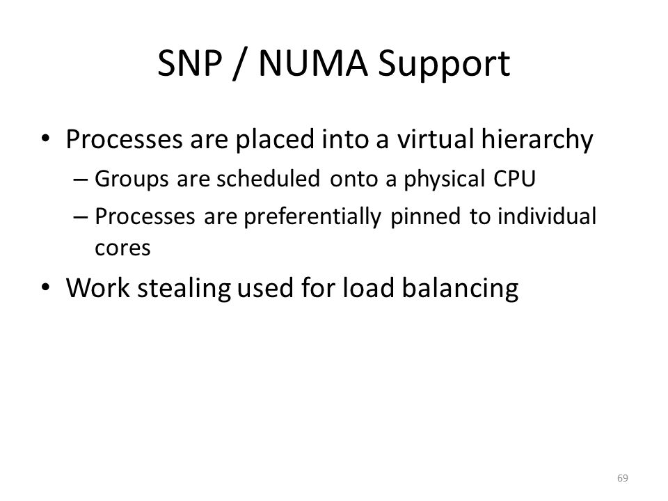 SNP / NUMA Support Processes are placed into a virtual hierarchy