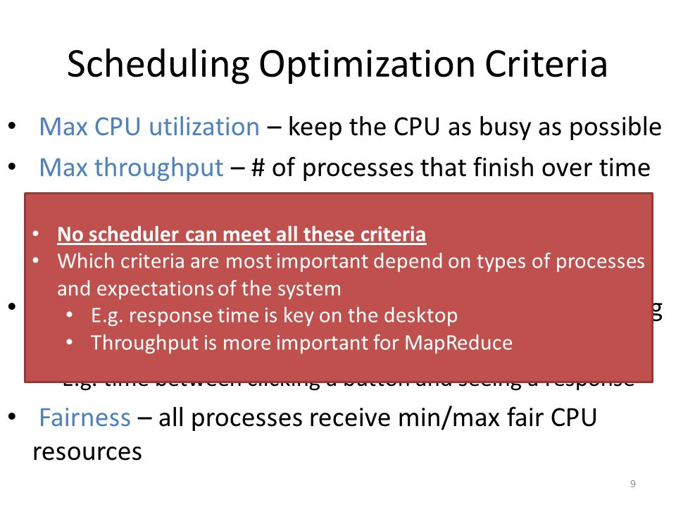 Scheduling Optimization Criteria