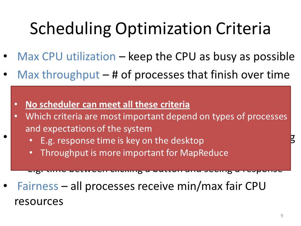 Scheduling Optimization Criteria
