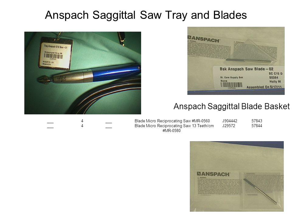 Anspach Saggittal Saw Tray and Blades
