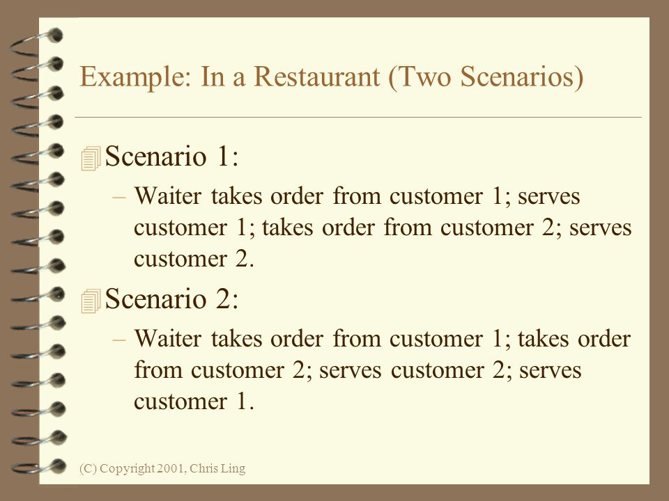 Example: In a Restaurant (Two Scenarios)